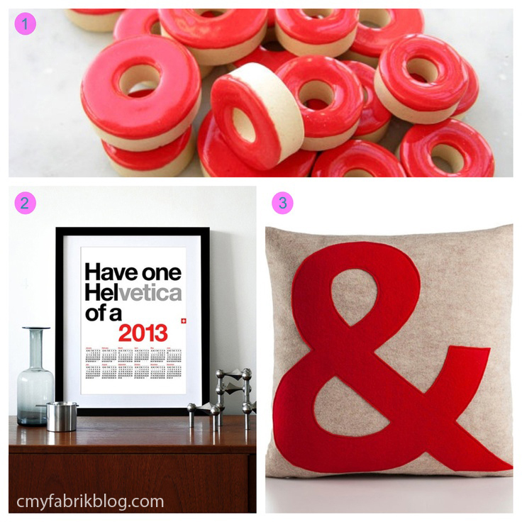 "Pantone 17-1664 Poppy Red  products: Really Red Stoneware Ceramic Circle Tiles via floatingwoo on Etsy | 2013 calendar poster helvetica print via yumalum on Etsy | AMPERSAND block font recycled felt applique pillow 16""x16"" via alexandraferguson on Etsy"