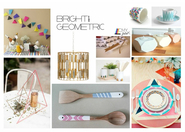Bright geometric setting #Thanksgiving #decor #placesetting #geometric #designboard by @CMYfabriK