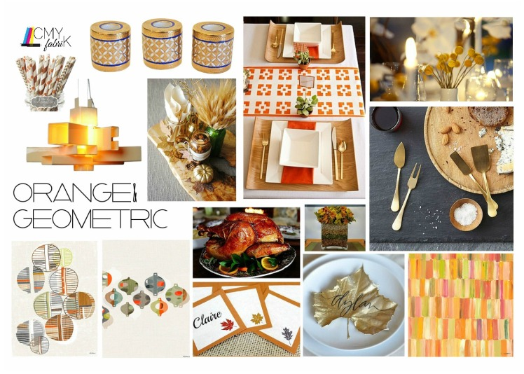 Orange geometric layout #Thanksgiving #decor #placesetting #geometric #orange #designboard by @CMYfabriK