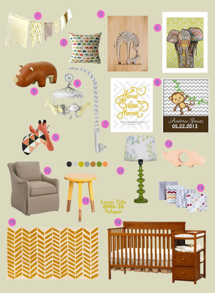 Modern safari nursery board