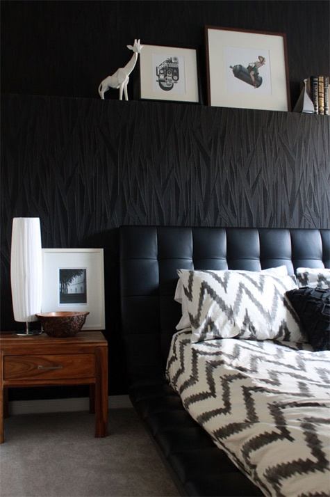 Black masculine master bedroom design