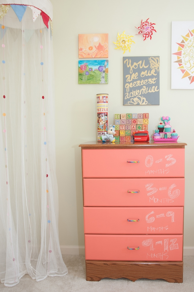 Washi tape around the drawer pulls adds an extra pop of color.